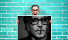 Johnny Depp Black and white  - Wall Art Print Poster   -  Poster Geekery